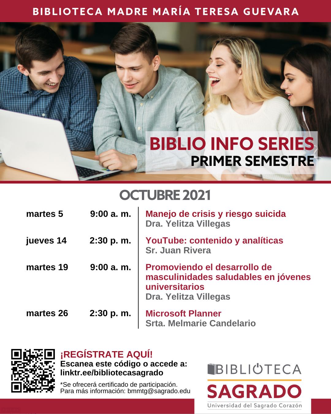 Afiche promocional de tallerers biblioteca para octubre 2021