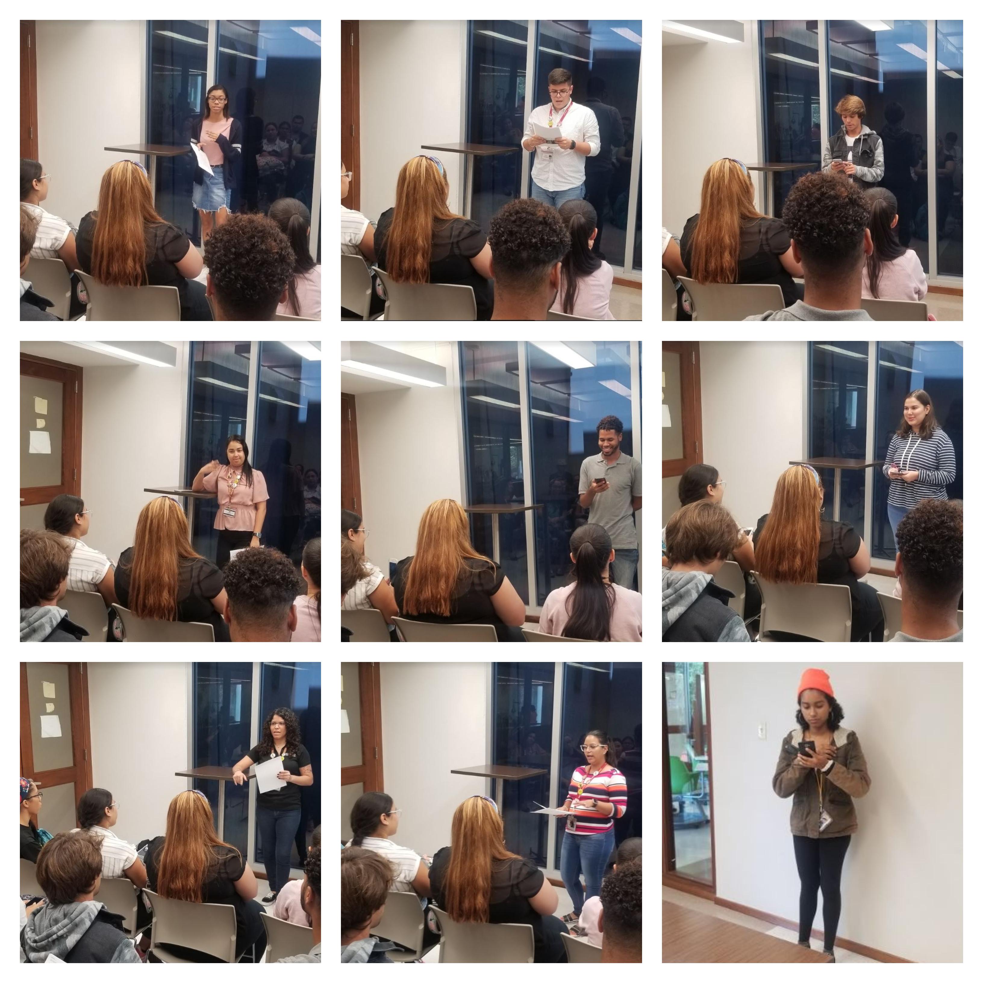 Imagen Nueve estudiantes de pie ante la audiencia cada uno en sus espacios de declamacion