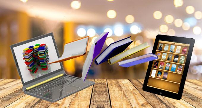 Presiona esta imagen de unos libros entrando a una computadora portatil y una tableta para ver el video