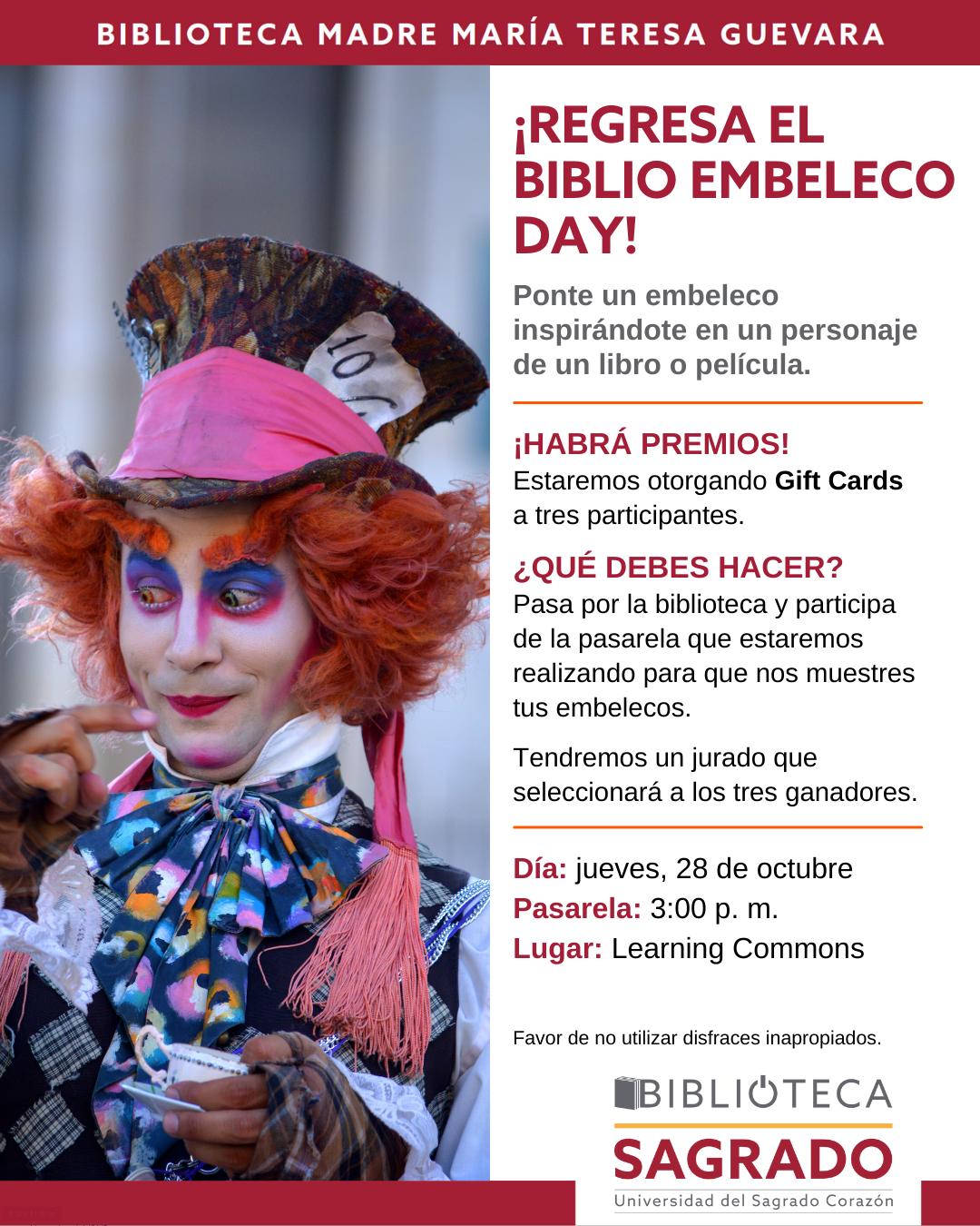 afiche promocional biblio embeleco day 2021